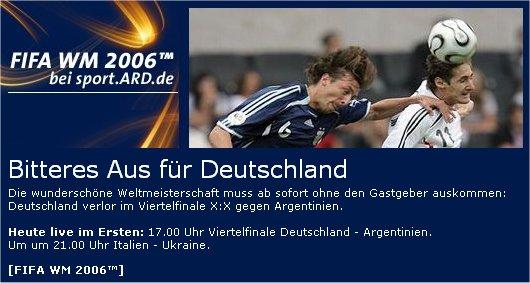 Deutschland verliert gegen Argentinien bei tagesschau.de