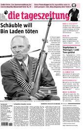 """Wolfgang Schäuble auf der Titelseite der """"taz"""" (9. Juli 2007)"""