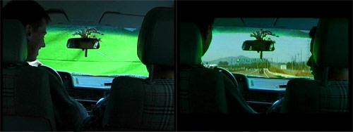 """Green Screen beim Dreh von """"Doomsday"""" (vorher/nachher)"""