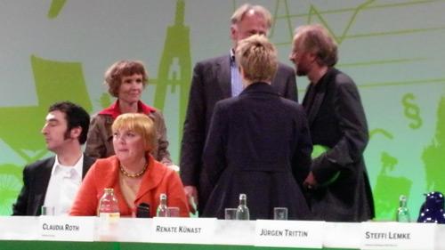 Cem Özdemir, Steffi Lemke, Claudia Roth, Jürgen Trittin, Renate Künast und Lukas Beckmann (v.l.n.r.)