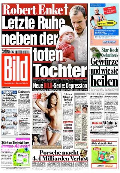 """Titelseite """"Bild"""", 13. November 2009"""