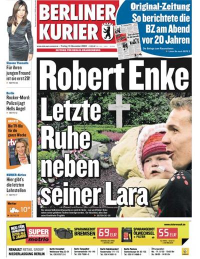 """Titelseite """"Berliner Kurier"""", 13. November 2009"""