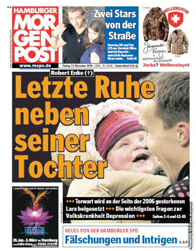 "Titelseite ""Hamburger Morgenpost"", 13. November 2009"