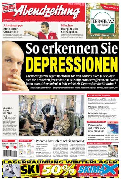 """Titelseite """"Abendzeitung"""", 13. November 2009"""