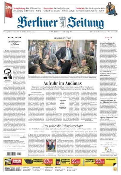 """Titelseite """"Berliner Zeitung"""", 13. November 2009"""