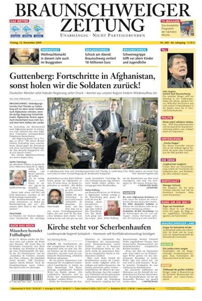 """Titelseite """"Braunschweiger Zeitung"""", 13. November 2009"""