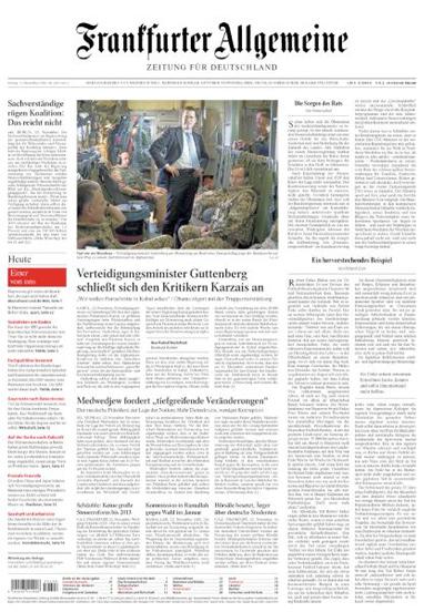 """Titelseite """"Frankfurter Allgemeine Zeitung"""", 13. November 2009"""