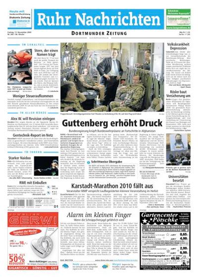 """Titelseite """"Ruhr Nachrichten"""", 13. November 2009"""