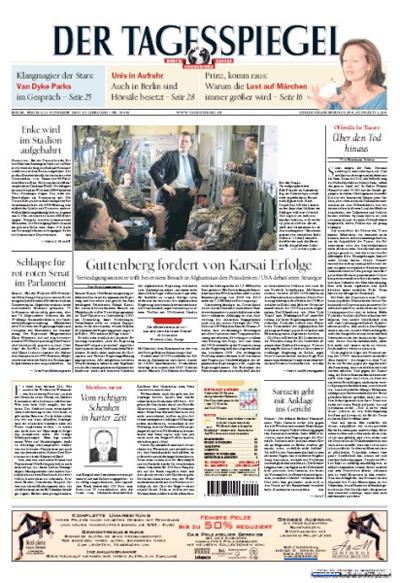 """Titelseite """"Der Tagesspiegel"""", 13. November 2009"""