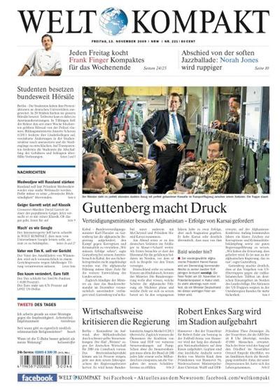 """Titelseite """"Welt Kompakt"""", 13. November 2009"""