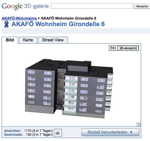 Wohnheim Girondelle 6 (als Modell bei Google Earth)