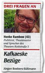 Drei Fragen an: Honke Rambow