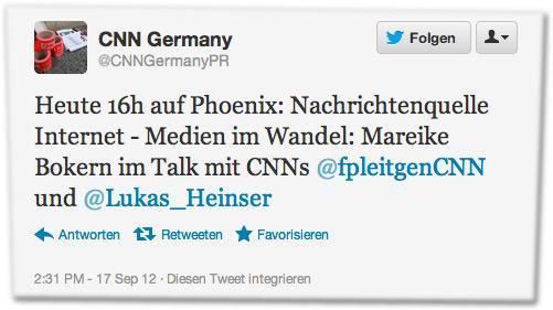 Heute 16h auf Phoenix: Nachrichtenquelle Internet - Medien im Wandel: Mareike Bokern im Talk mit CNNs @fpleitgenCNN und @Lukas_Heinser